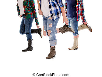 Line Dance Lessons - Legs of Three Women in Line Dance Class