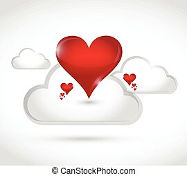 clouds and hearts illustration design