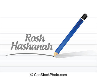 rosh hashanah message illustration design over a white...