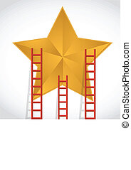 ladders to a gold star illustration