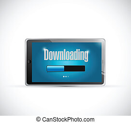 downloading bar inside a tablet. illustration