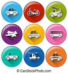 Round buttons with the different transportations -...