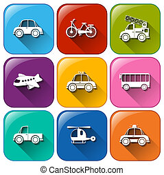 Rounded buttons with the different types of transportation