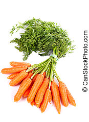 Bunch of fresh carrots with shadow on white background