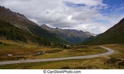 Road in Alps - Panoramic time-lapse of road in Alps