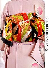 Colorfur, kimono, Vestido, obi, detalle