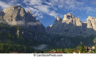 Small village in Dolomites - Panoramic time-lapse of Italian...