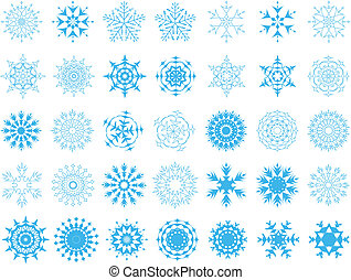 set of snowflakes - Set of different vector snowflakes in...