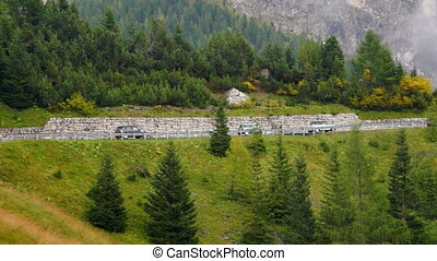 Mini Cooper cars on Alpine road - Real-time view of Alpine...