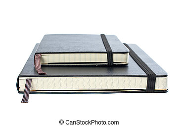 Two blacks notebooks with soft shadow on white background