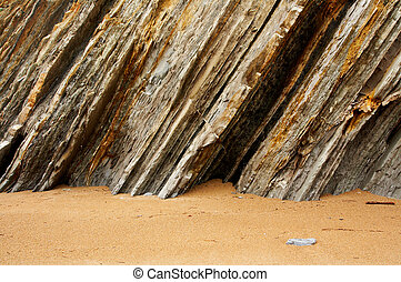 Layers - Multiple layers of eroded cliff in a beach