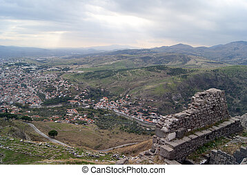 The view of Bergama city in Turkey Ruins of pergam old city...