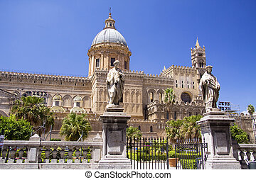Cathedral of Palermo front - Cathedral of Palermo in Italy...