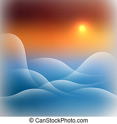 Gentle Landscape with Mountains Waves at Sunset Sky Square...