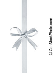 silver thin ribbon with bow, isolated on white