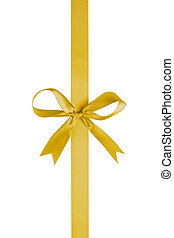 yellow thin ribbon with bow, isolated on white