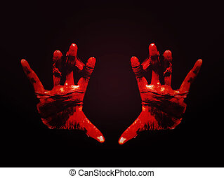 Horror Scene with Bloody Hand