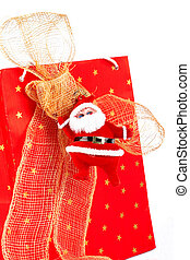 Santa Claus and red bag on white background
