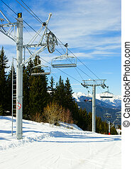 Skilift - Chairlift intermediate towers at Alpine ski resort