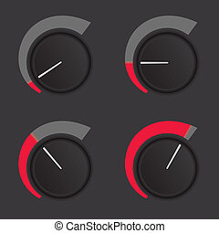 Dial levels - A set of dials at low to high levels.