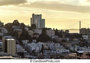 Lombard street and Golden Gate bridge, San Francisco - A...