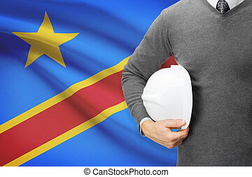 Architect with flag on background - Democratic Republic of...