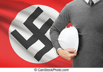 Architect with flag on background - Nazi Germany - German...