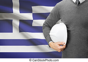 Architect with flag on background - Greece
