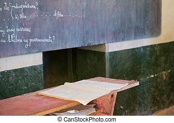 escola, antigas, escrivaninhas