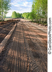 Dirt road with  grader tracks