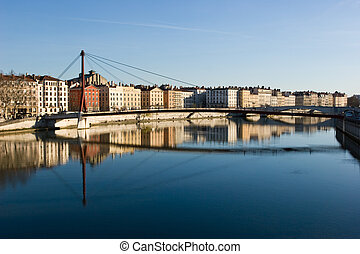 Lyon cityscape - The bank of the Saone river at the city of...