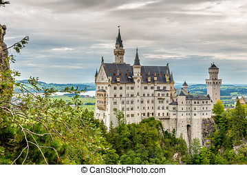 Neuschwanstein Castle - Romanesque Revival palace in Germany...