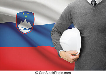 Architect with flag on background - Slovenia