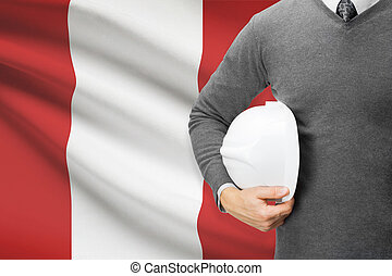 Architect with flag on background - Peru