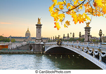 Bridge of Alexandre III, Paris - autumn Alexandre III Bridge...