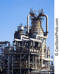 Oil refinery in Italy close-up of tubes and pipes