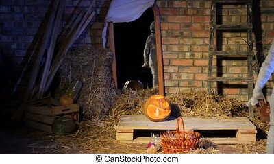 Halloween Ghost Picking Up Presents - Halloween ghost picks...