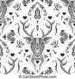 Deer head. Seamless pattern. - Deer head. Polynesian tribal...