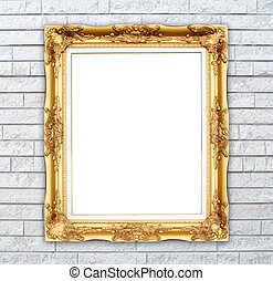 blank golden frame on brick stone wall background