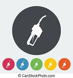 Refueling nozzle icon. - Refueling nozzle. Single flat icon...