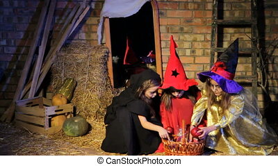 Ghost Scaring Witches on Halloween