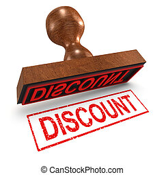 3d Discount rubber stamp - 3d render of a discount rubber...