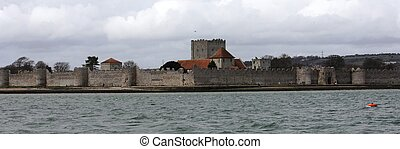 The old well preserved Portchester castle within portsmouth...