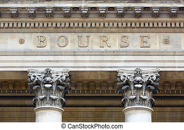 Stock exchange building in Paris, France