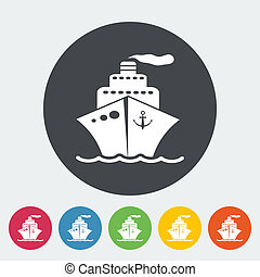 Ship icon. - Ship. Single flat icon on the circle. Vector...