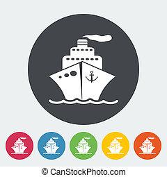 Ship icon. - Ship. Single flat icon on the circle. Vector...