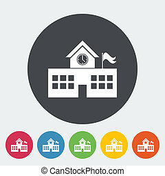School building. Single flat icon on the circle. Vector...