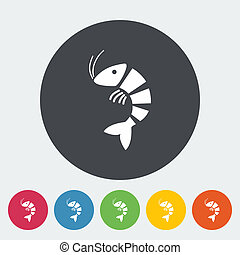 Shrimp. Single flat icon on the circle. Vector illustration.
