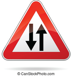 Vector two way sign - Vector illustration of triangle...