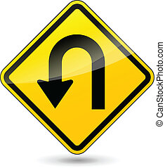 Vector u-turn sign - Vector illustration of u-turn yellow...